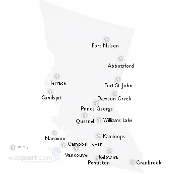 map of british columbia canada with cities. Map of British Columbia